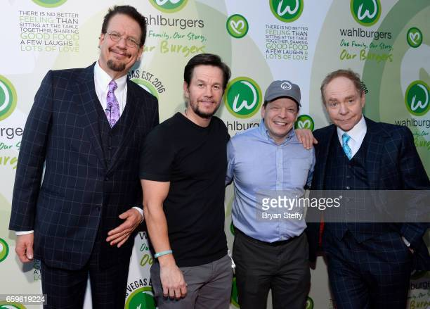 Penn Jillette of the magic/comedy team Penn Teller actor Mark Wahlberg and brother executive chef Paul Wahlberg and Teller of the magic/comedy team...