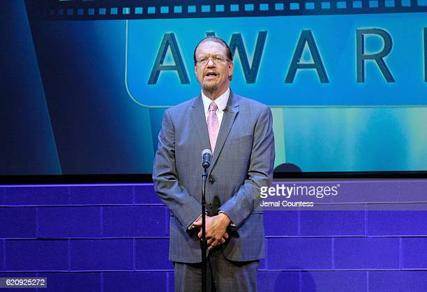 Penn Jillette speaks on stage during Critics' Choice Documentary Awards at BRIC Arts Center on November 3 2016 in the Brooklyn borough of New York...