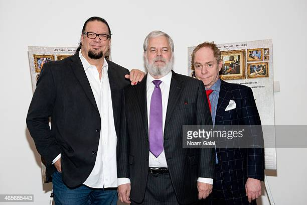 Penn Jillette Tim Jenison and Teller attend the Tim's Vermeer special screening at Museum of Modern Art on January 28 2014 in New York City