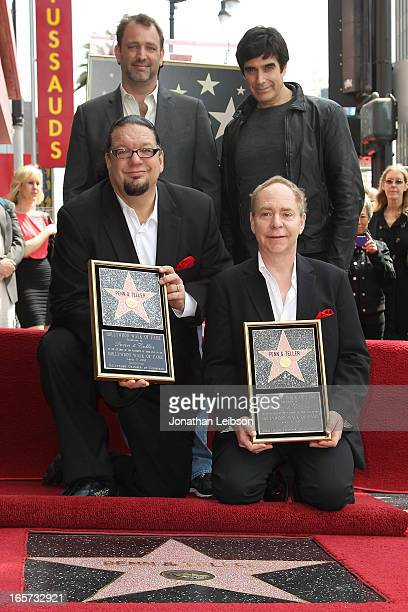 Penn Jillette Trey Parker David Copperfield and Teller attend a ceremony honoring Penn Teller with the a star on the Hollywood Walk of Fame on April...