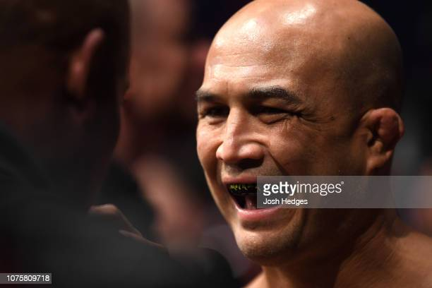 Penn prepares to enter the Octagon prior to his lightweight bout against Ryan Hall during the UFC 232 event inside The Forum on December 29 2018 in...