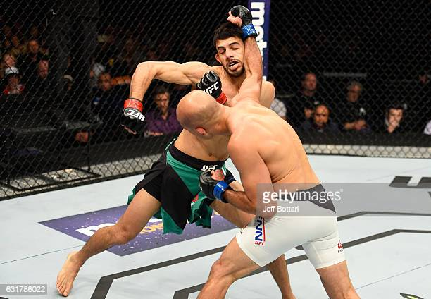 Penn punches Yair Rodriguez of Mexico in their featherweight bout during the UFC Fight Night event inside Talking Stick Resort Arena on January 15,...