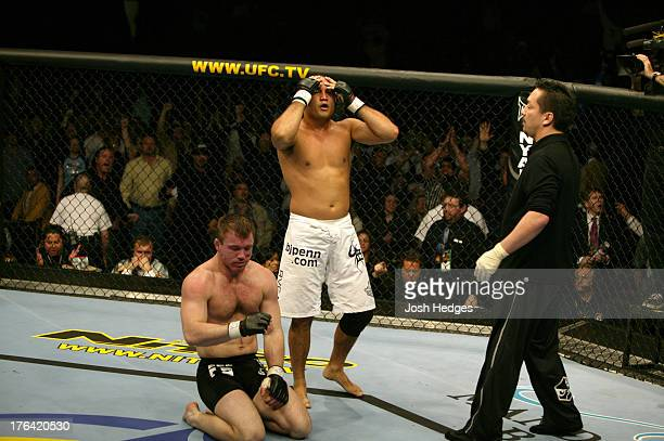 BJ Penn reacts after his submission victory over Matt Hughes during their welterweight championship bout at UFC 46 inside the Mandalay Bay Events...