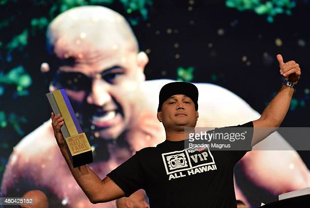 Penn receives his award as he is inducted into the UFC Hall of Fame at the UFC Fan Expo in the Sands Expo and Convention Center on July 11 2015 in...