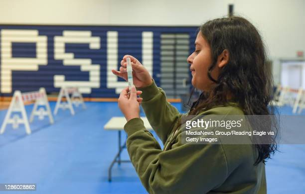 Penn State Berks Student takes a COVID-19 test. At the Penn State Berks Beaver Community Center gymnasium in Spring Township Monday morning November...