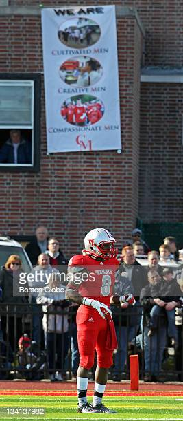 Penn State bound Catholic Memorial's Armani Reeves is pictured with a Catholic Memorial banner in the background Catholic Memorial hosted Boston...