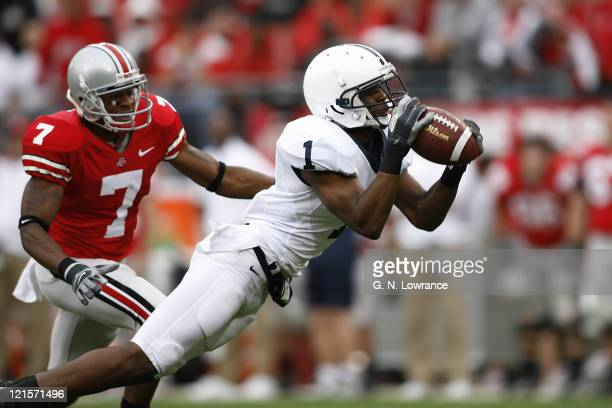 Penn State cornerback Justin King intercepts a pass during 1stquarter action between Penn State and Ohio State in Columbus Ohio on September 23 2006...