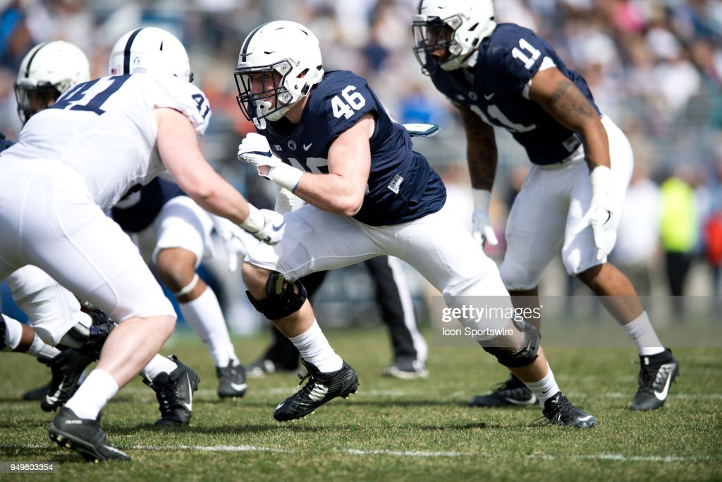 Penn State DE Nick Tarburton (46) rushes off of the line toward the quarterback during the Spring Football Game on April 21, 2018 at Beaver Stadium in University Park, PA.