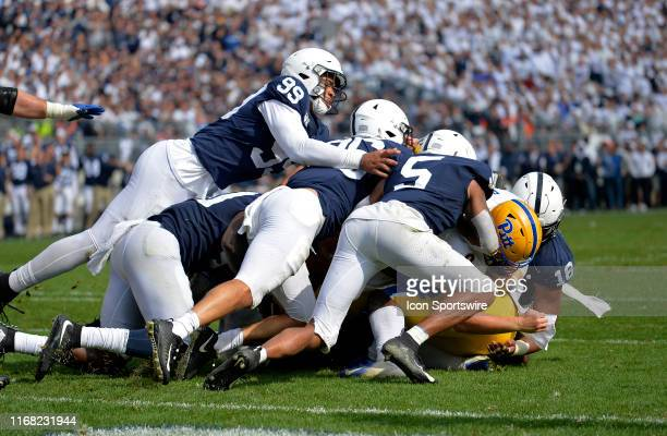Penn State DE Yetur GrossMatos and a mass of Penn State defenders stop Pitt QB Kenny Pickett short of the end zone during the fourth quarter of the...