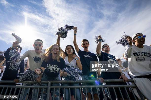 Penn State fans celebrate after a touchdown during the first half of the game between the Penn State Nittany Lions and the Villanova Wildcatsat...