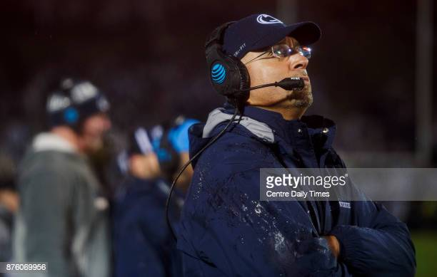 Penn State football coach James Franklin watches a replay as Nebraska gets in the redzone Saturday Nov 18 2017 in State College Pa Penn State won...