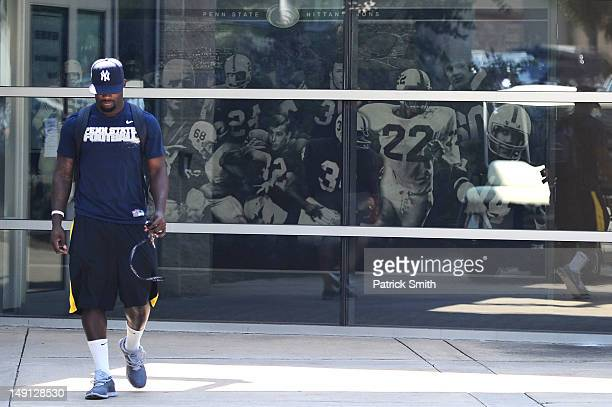 Penn State football player leaves the Mildred and Louis Lasch Football Building following a team meeting soon after the NCAA announced Sanctions on...