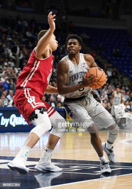 Penn State guard Jamari Wheeler moves in toward the basket during a game against Wisconsin on Monday Dec 4 2017 at the Bryce Jordan Center in...