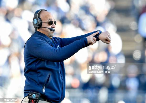 Penn State head coach James Franklin motions to his offense as they try to run the clock down in the fourth quarter against Indiana on Saturday, Nov....