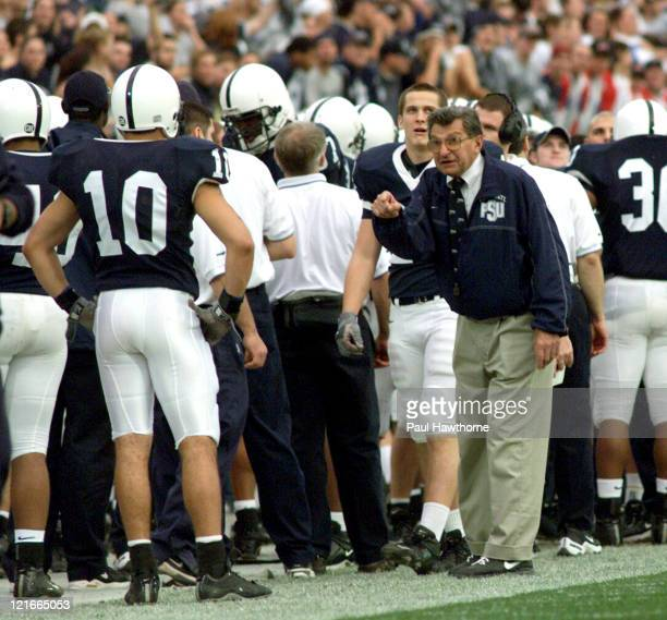 Penn State head coach Joe Paterno rallies his special teams during first half actio against Ohio State at Beaver Stadium University Park Pennsylvaina...