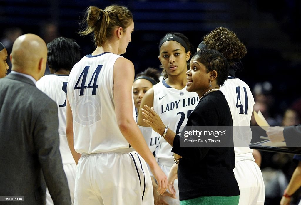 Penn State Lady Lions coach Coquese Washington talks to her players during a time out in a women's college basketball game against the Ohio State Buckeyes at the Bryce Jordan Center in College Station, Pa., on Thursday, Jan. 16, 2014. The Lady Lions won, 66-42.