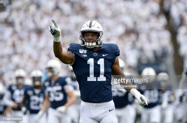 Penn State LB Micah Parsons points to the crowd during the Pittsburgh Panthers vs Penn State Nittany Lions September 14 2019 at Beaver Stadium in...