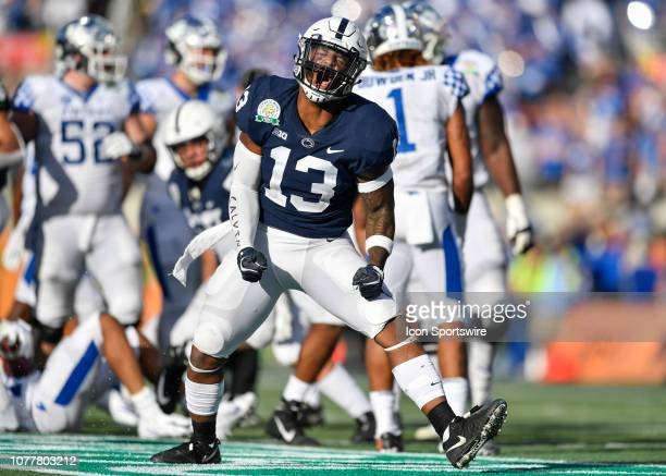 Penn State linebacker Ellis Brooks celebrates his third down tackle during the second half of the Citrus Bowl between the Kentucky Wildcats and the...
