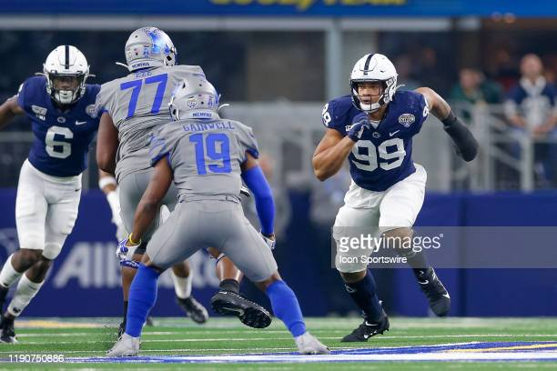 Penn State Nittany Lions defensive end Yetur Gross-Matos rushes from the edge during the Cotton Bowl Classic between the Memphis Tigers and Penn...
