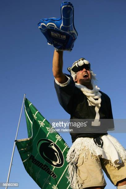 Penn State Nittany Lions fan celebrates before the Fed Ex Orange Bowl with the Florida State Seminoles at Dolphins Stadium on January 3 2005 in Miami...