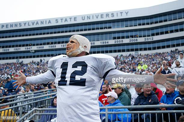 Penn State Nittany Lions fan reacts during the game against the Maryland Terrapins at Beaver Stadium on October 8 2016 in State College Pennsylvania...