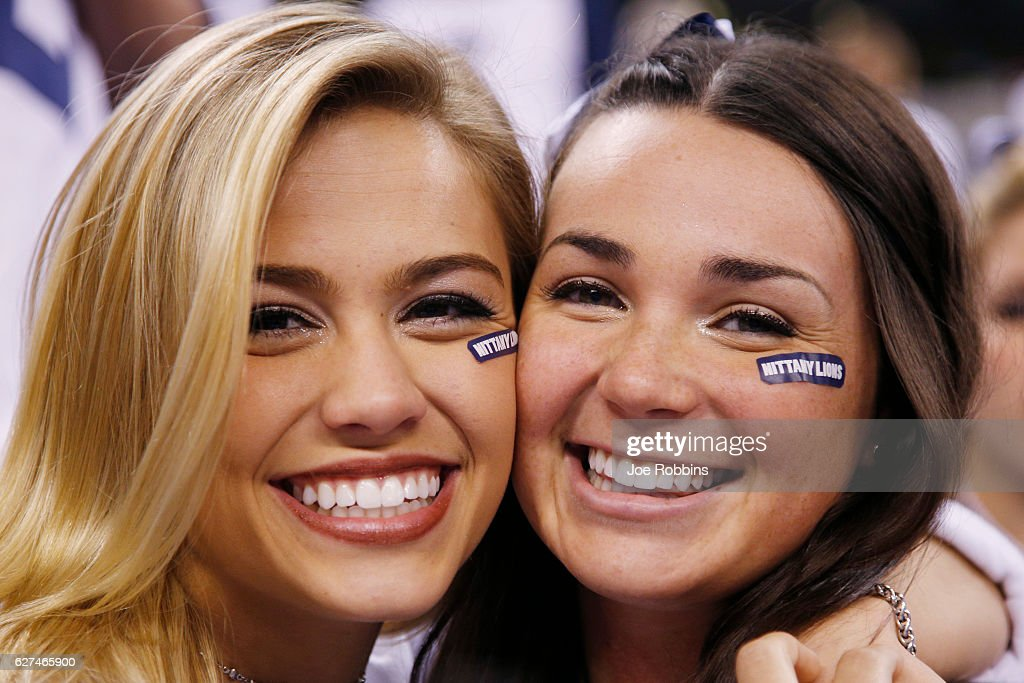 Penn State Nittany Lions fans get ready before the Big Ten Championship game against the Wisconsin Badgers at Lucas Oil Stadium on December 3, 2016 in Indianapolis, Indiana.