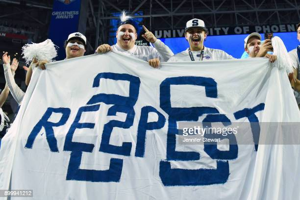 Penn State Nittany Lions fans hold up a flag for Saquon Barkley during the second half of the PlayStation Fiesta Bowl against Washington Huskies at...