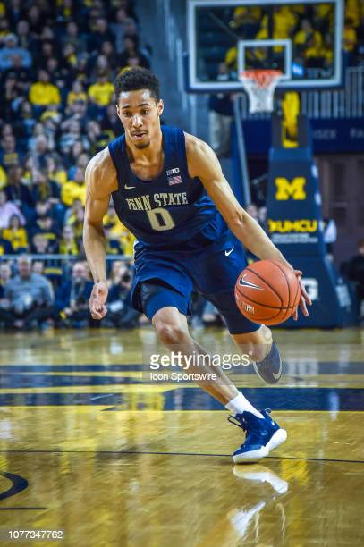 Penn State Nittany Lions guard Myreon Jones drives from the outside during the Michigan Wolverines game versus the Penn State Nittany Lions on...