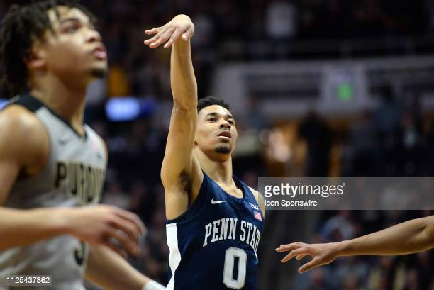 Penn State Nittany Lions guard Myreon Jones holds his hand up after shooting a free throw during the Big Ten Conference college basketball game...