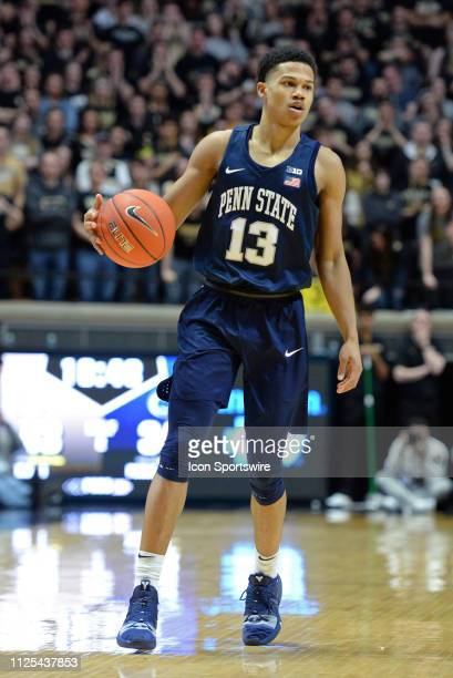 Penn State Nittany Lions guard Rasir Bolton dribbles the ball during the Big Ten Conference college basketball game between the Penn State Nittany...