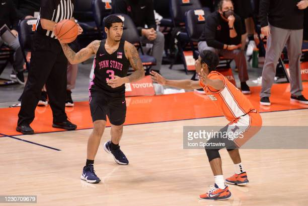 Penn State Nittany Lions guard Sam Sessoms passes the ball around Illinois Fighting Illini guard Trent Frazier during the Big Ten Conference college...