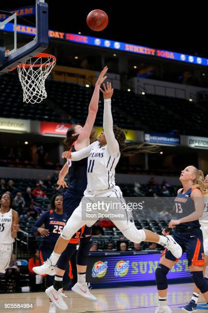 INDIANAPOLIS IN Penn State Nittany Lions guard Teniya Page drives to the basket and puts up her shot up and over Illinois Fighting Illini junior Alex...