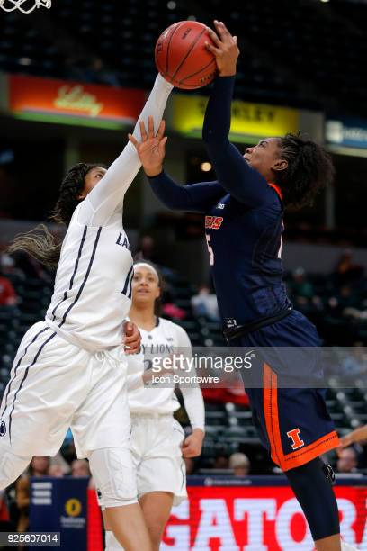 INDIANAPOLIS IN Penn State Nittany Lions guard Teniya Page is called for a foul on Illinois Fighting Illini player Kennedy Cattenhead during the game...