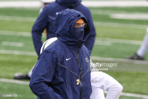 Penn State Nittany Lions head coach James Franklin during warmup prior to the college football game between the Rutgers Scarlet Knights and the Penn...