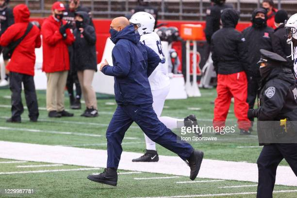 Penn State Nittany Lions head coach James Franklin enters the field prior to the college football game between the Rutgers Scarlet Knights and the...