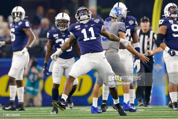 Penn State Nittany Lions linebacker Micah Parsons celebrates after a tackle during the Cotton Bowl Classic between the Memphis Tigers and Penn State...