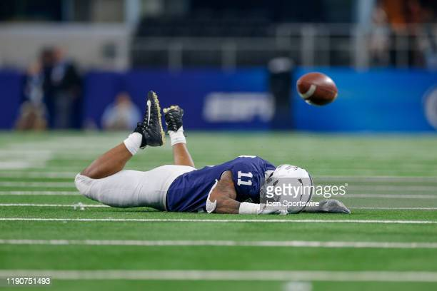 Penn State Nittany Lions linebacker Micah Parsons just misses an interception during the Cotton Bowl Classic between the Memphis Tigers and Penn...
