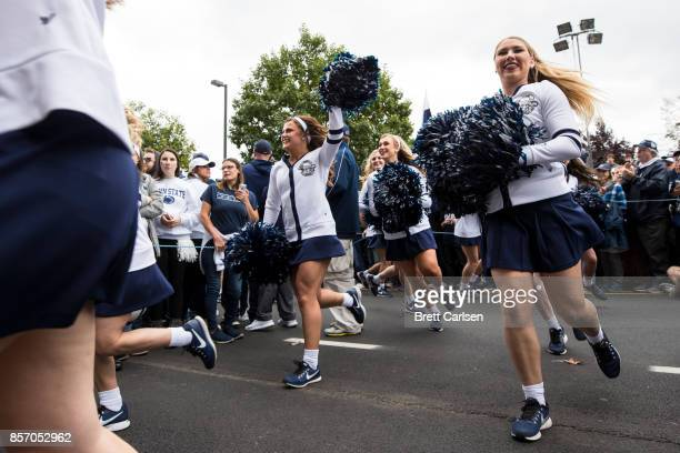 Penn State Nittany Lions Lionettes entertain crowds before the football team arrives for a game against the Indiana Hoosiers on September 30 2017 at...