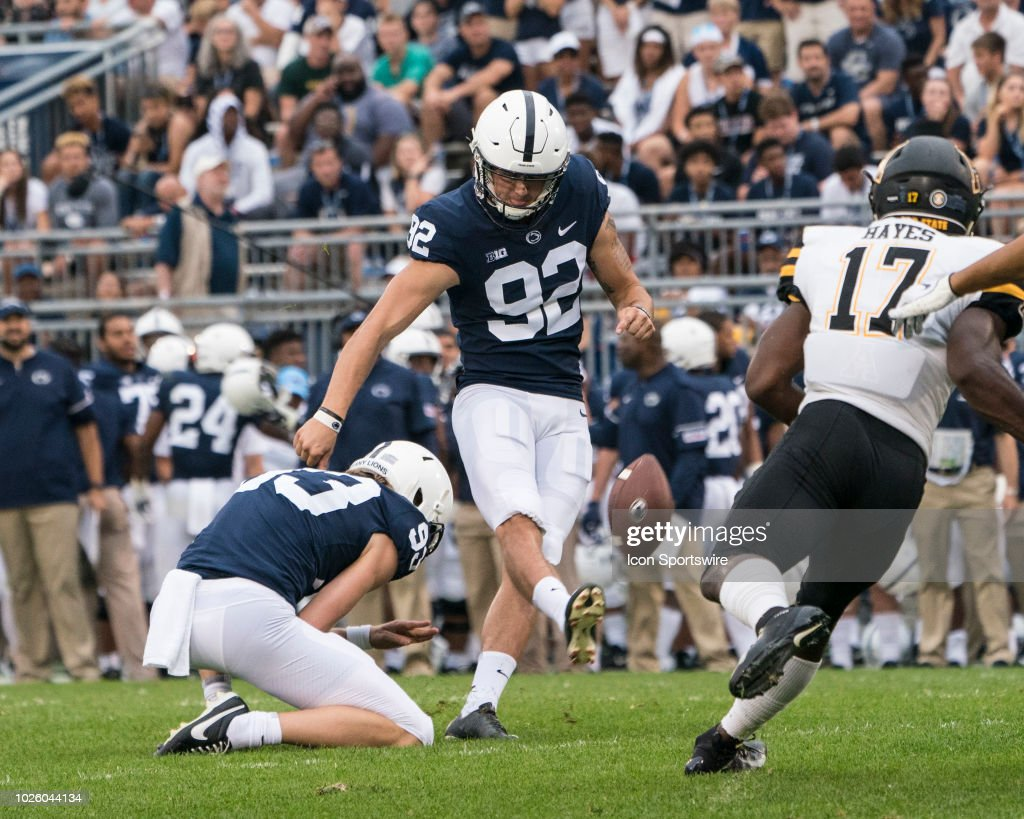 Penn State Nittany Lions Place Kicker Jake Pinegar kicks ...