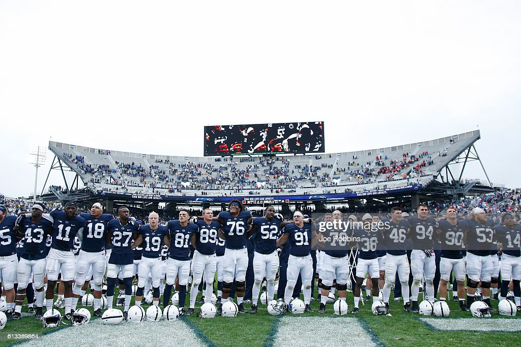Penn State Nittany Lions players celebrate after the game against the Maryland Terrapins at Beaver Stadium on October 8, 2016 in State College, Pennsylvania. Penn State defeated Maryland 38-14.