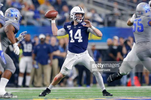 Penn State Nittany Lions quarterback Sean Clifford throws a pass during the Cotton Bowl Classic between the Memphis Tigers and Penn State Nittany...