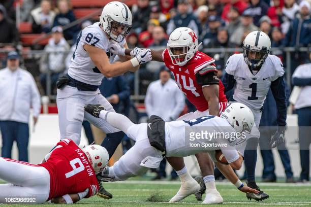 Penn State Nittany Lions quarterback Trace McSorley dives forward for a first down during the fourth quarter of the college football game between the...