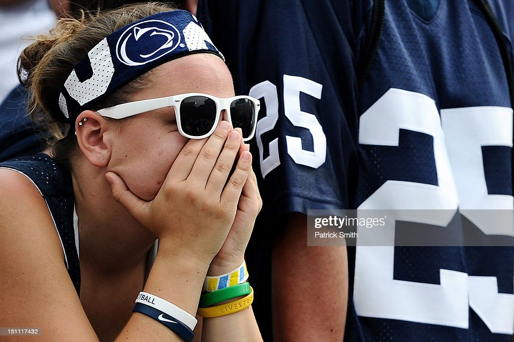 Penn State Nittany Lions react after losing to the Ohio Bobcats at Beaver Stadium on September 1, 2012 in State College, Pennsylvania. The Bobcats won 24-14.