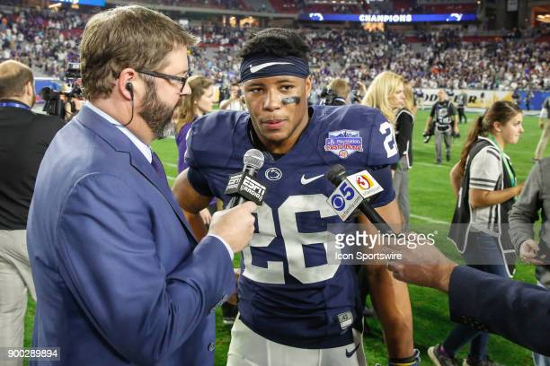 Penn State Nittany Lions running back Saquon Barkley is interviewed after the Fiesta Bowl college football game between the Penn State Nittany Lions...