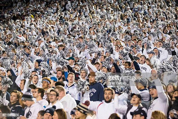 Penn State Nittany Lions student fans cheer during the second half of the game between the Penn State Nittany Lions and the Iowa Hawkeyes on November...