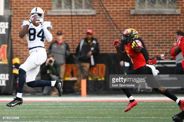 Penn State Nittany Lions wide receiver Juwan Johnson makes a first quarter reception against Maryland Terrapins defensive back RaVon Davis on...