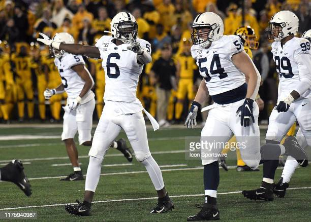 Penn State players celebrate after recovering a fumble during a Big Ten Conference football game between the Penn State Nittany Lions and the Iowa...