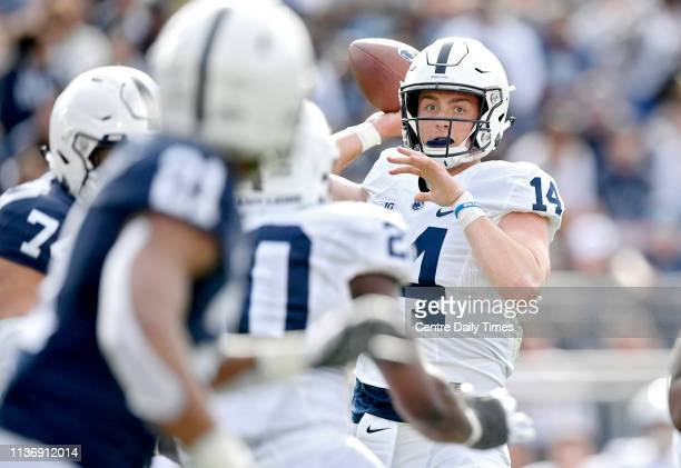 Penn State quarterback Sean Clifford throws a pass during the BlueWhite spring scrimmage on Saturday April 13 in University Park Pa