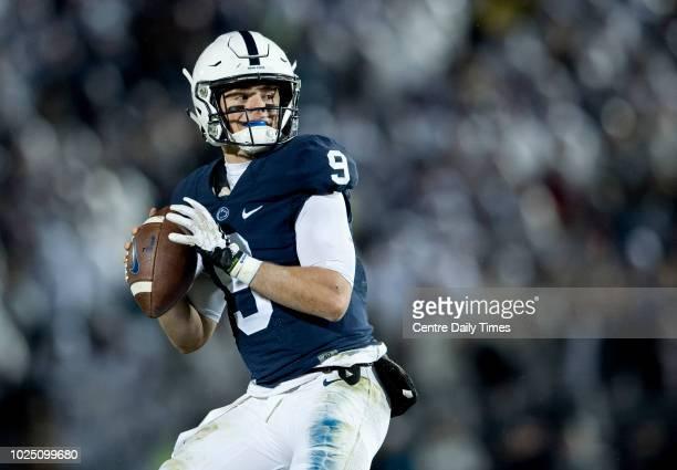 Penn State quarterback Trace McSorley looks to put the ball in the air against Nebraska on November 18 at Beaver Stadium in University Park Pa