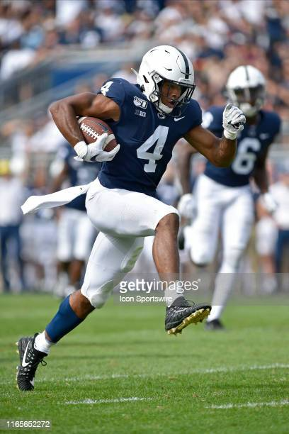 Penn State RB Journey Brown leaps into the end zone at the end of a touchdown run during the Idaho Vandals versus the Penn State Nittany Lions August...
